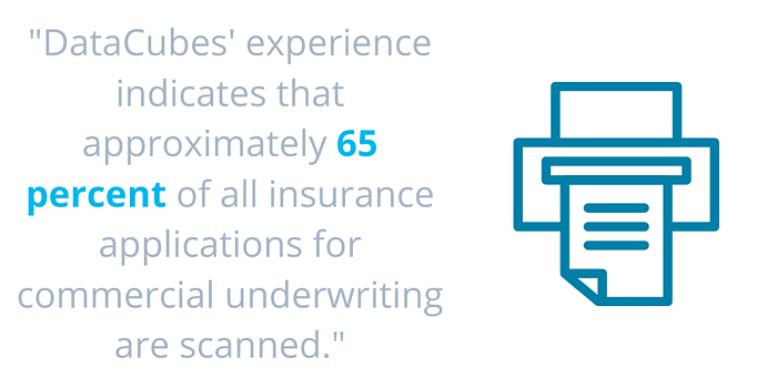 _DataCubes experience indicates that approximately 65 percent of all insurance applications for commercial underwriting are scanned._ (4)